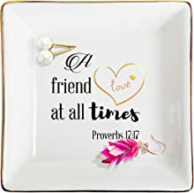ZeenArt Friendship Gifts for Women Ceramic Ring Dish Jewelry Tray Decorative Trinket Plate, Gifts for Friends - A Friend Loves at All Times-Proverbs 17:17
