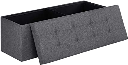 SONGMICS 43 Inches Folding Storage Ottoman Bench Storage Chest Foot Rest Stool with Metal Support, Holds up to 660 lb, Dark Gray ULSF77K