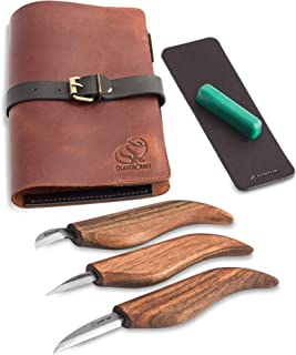 BeaverCraft Deluxe S15X Wood Carving Whittling Knives Set with Leather Case –..