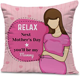 TIED RIBBONS Pregnant Women Printed Satin Cushion with Filler (Multicolour, 12 x 12-inch)