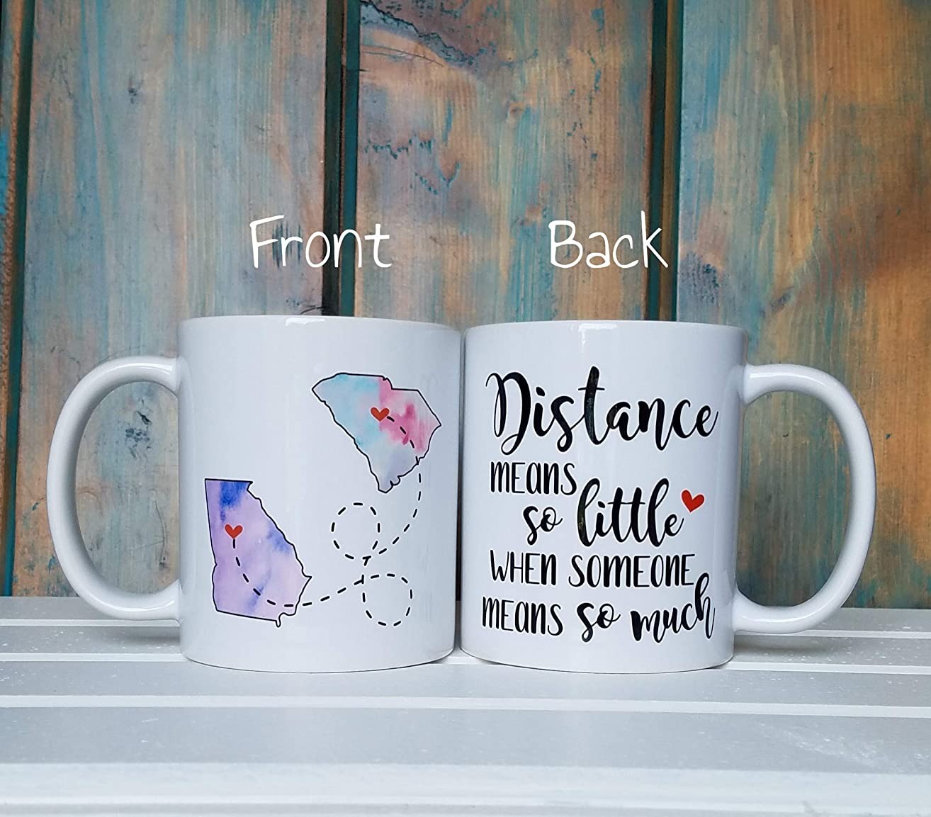 Distance means so little when someone means so much, long distance coffee mug, custom coffee mug, going away gift, state to state mug, multiple color and size options