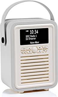 VQ Retro Mini DAB+ Digital Radio with FM, Bluetooth & Alarm Clock, Light Grey, (VQ-Mini-LG/AUS)
