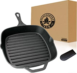 "Backcountry Cast Iron 12"" Large Square Grill Pan (Pre-Seasoned for Non-Stick Like Surface, Cookware Range/Oven/Broiler/Gri..."