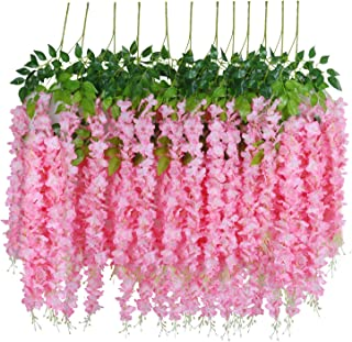 U'Artlines 12 Pack 3.6 Feet/Piece Artificial Fake Wisteria Vine Ratta Hanging Garland Silk Flowers String Home Party Wedding Decor Extra Long and Thick (12, Pink)