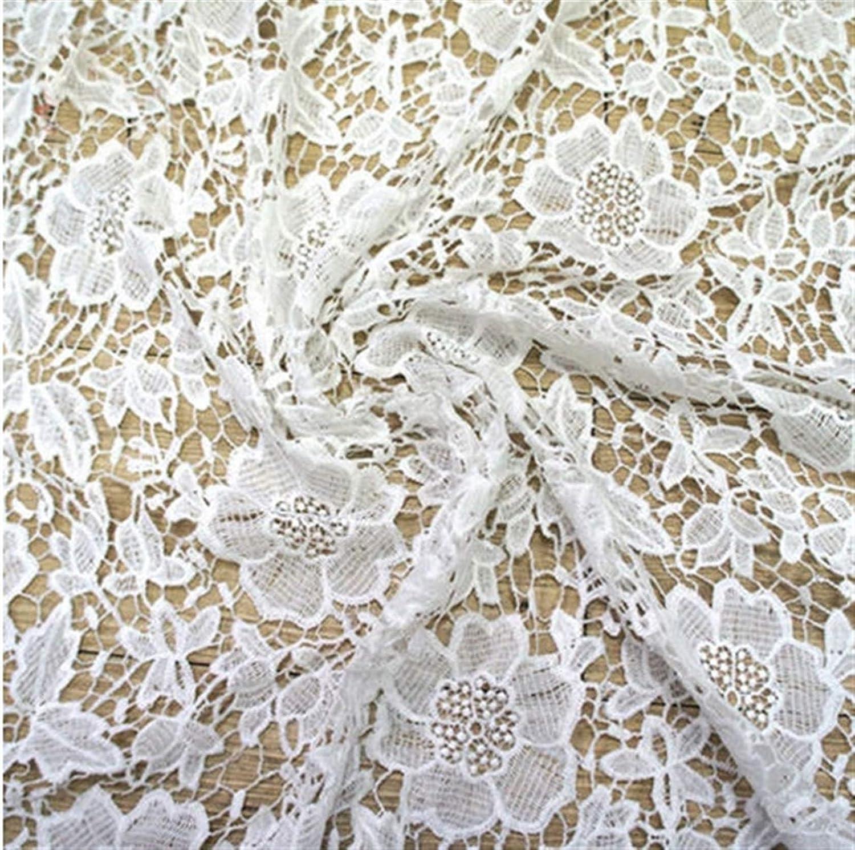 Color : White LBY Accesorios al por Mayor Ramo de Flores de Tela de Encaje guipur Material for Novia Blanco Vestido de Patio