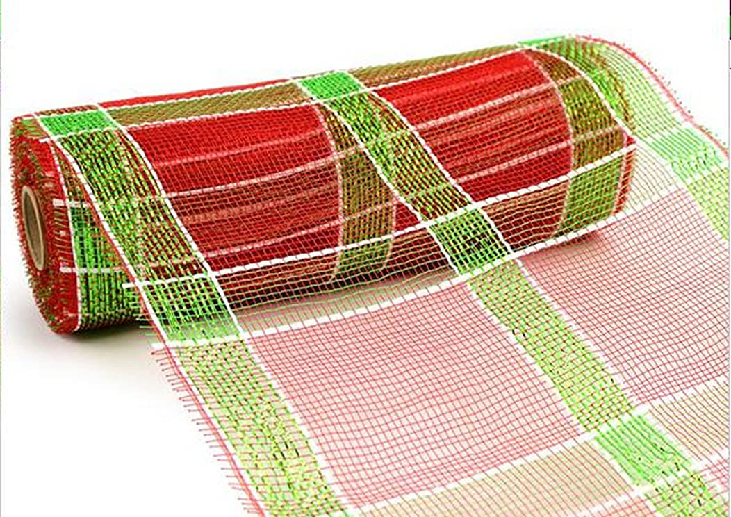 10 Inch x 10 Yards (30 feet) Deco Poly Mesh Ribbon - Red, White and Green Plaid : RE1313A7