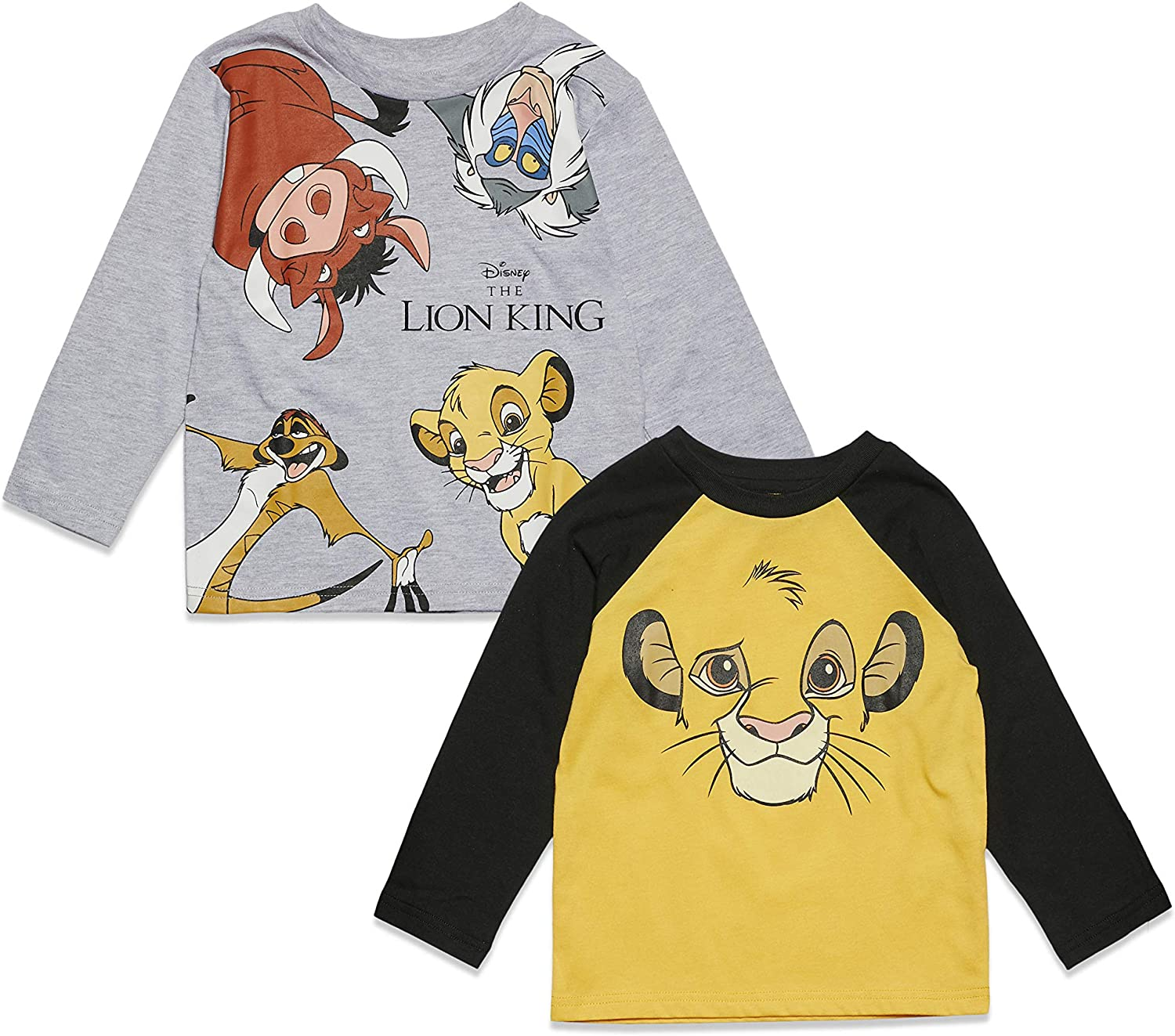 Disney The Lion King 2 Pack Save money Long Yellow Graphic T-Shirts Sleeve Super-cheap