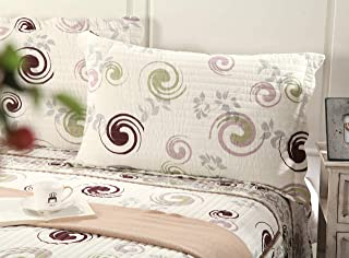 Tache Home Fashion Carnation Gardens Quilted Coverlet Bedspread Set - Bright Vibrant Solid White Brown Geometric Print - Full - 3-Pieces