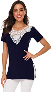 Afibi Women's Floral Lace Hollow Summer Tunic Top Blouse Shirts