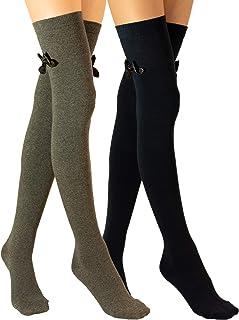 Molton Marley - Calzini lunghi sopra il ginocchio, con fiocco, in cotone a maglia fine, da ragazza e donna, confezione da 2