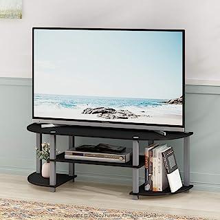 Furinno Turn-S-Tube Wide TV Entertainment Center, Black/Grey