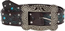 "1.5"" Floral Embossed w/ Stud and Turquoise Studs Belt"