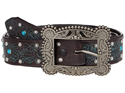 M&F Western 1.5 Floral Embossed w/ Stud and Turquoise Studs Belt (Chocolate/Turquoise) Women