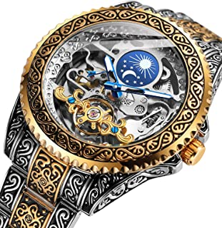 Forsining Retro Watch for Men Carved Self-Wind Mechanical Tattoo Tourbillon Moon Phase Independent Seconds Skeleton Automa...