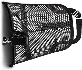 Mesh Lumbar Back Support Cushion - Breathable Fabric, Sturdy Frame, Non Slip Gripper Adjustable Straps Ergonomic Designed ...