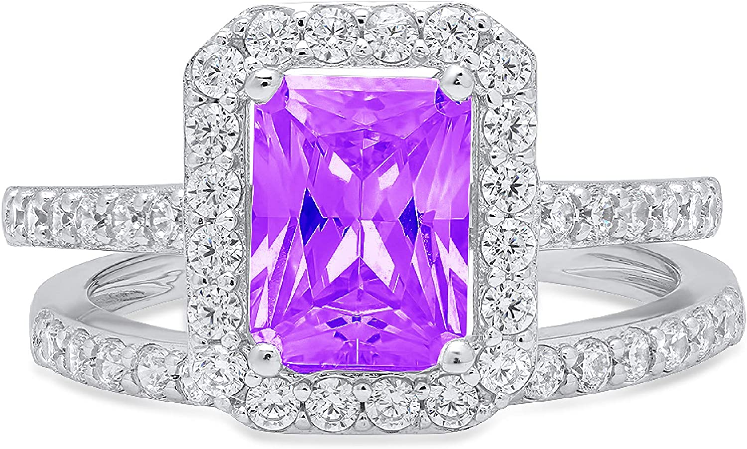 2.20ct Emerald Round Cut Pave Halo Solitaire Accent Natural Purple Amethyst Engagement Promise Statement Anniversary Bridal Wedding Ring Band set Real Solid 14k White Gold