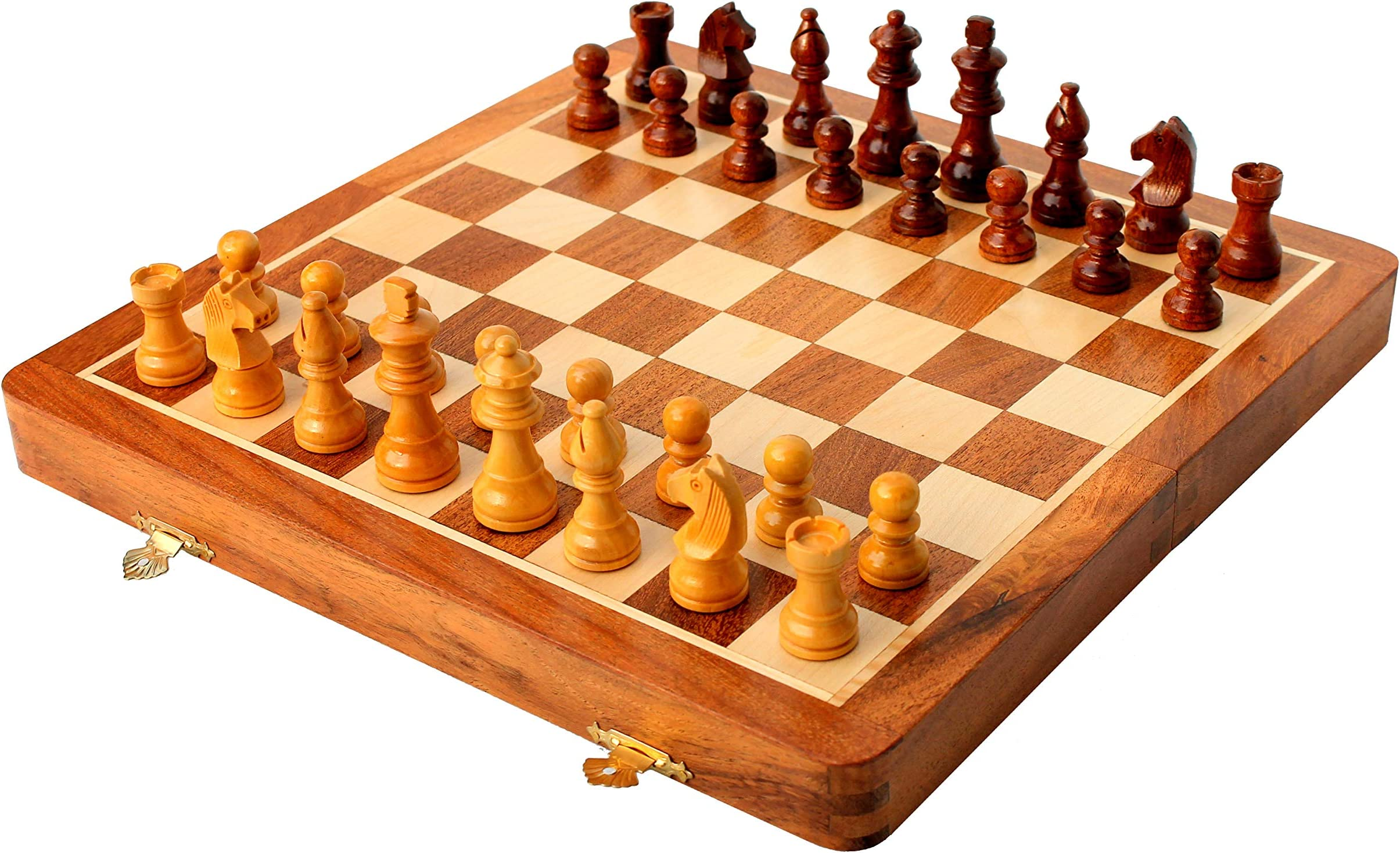 "Folding Staunton Wood Chess Set  #4-16/"" board 3/""; K"