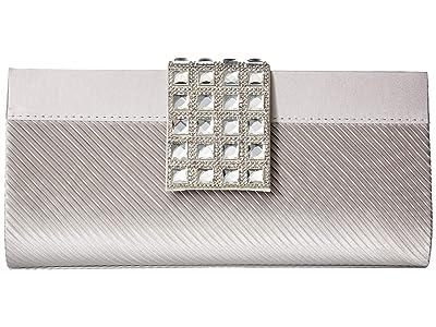 Jessica McClintock Elina Jeweled Clutch (Silver) Clutch Handbags
