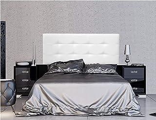 ONEK-DECCO Cabecero Mod.Arizona tapizado en Polipiel, Acolchado de Espuma, Cama niño, Juvenil y Matrimonio de Dormitorio, Cabezal de Cama Medidas (90x70, Blanco)
