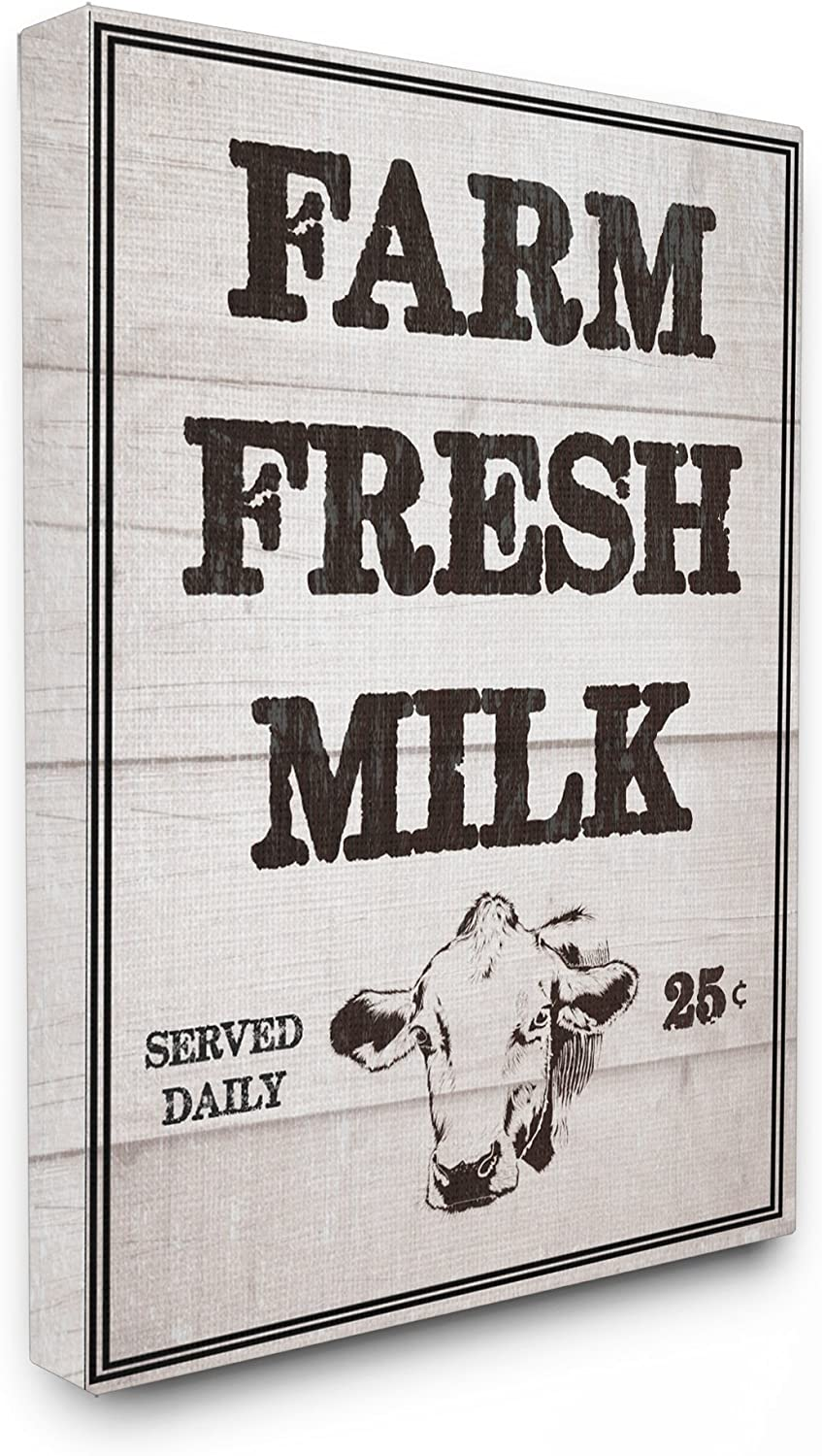 Stupell Industries Home Décor Collection Farm Fresh Milk Vintage Sign Stretched Canvas Wall Art