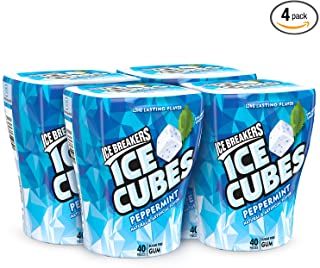 Ice Breakers Ice Cubes Sugar Free Gum with Xylitol, Peppermint, 40 Piece (Pack of 4)