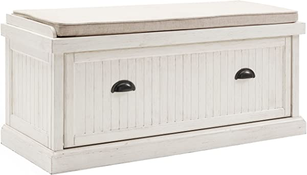 Crosley Furniture Seaside Entryway Bench Distressed White