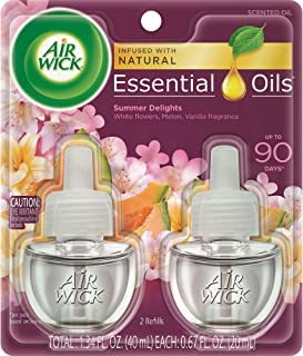 Air Wick plug in Scented Oil 2 Refills, Summer Delights, (2x0.67oz), Essential Oils, Air Freshener