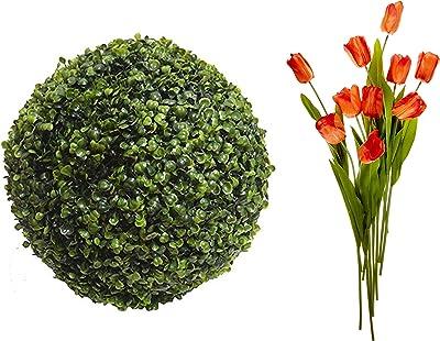 Fourwalls Artificial Plastic Eucalyptus Boxwood Topiary (38 cm x 38 cm x 38 cm, Green) + Tulip (Set of 10, Orange)