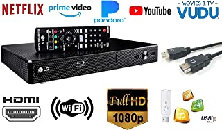 LG BP350 Blu-ray Disc & DVD Player Full HD 1080p Upscaling with Streaming Services, Built-in Wi-Fi, HDMI Output and Smart HI-FI-Compatible, Bundled with Alphasonik HDMI Cable Included