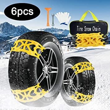 AgiiMan Snow Chains for Cars -Adjustable Emergency Anti-Skid 6Pcs Chains for Ice Road, Sand and Mud Road, Uphill Road Universal Snow Chains.L: image