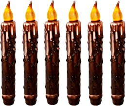 CVHOMEDECO. Real Wax Hand Dipped Battery Operated LED Timer Taper Candles Rustic Primitive Flameless Lights Décor, 6-3/4 I...