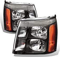 AmeriLite Black Headlights for Cadillac Escalade (Pair) High/Low Beam Bulb Included