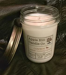 Handmade Natural Soy Candle - Cowboy (Campfire, Whiskey, and Leather) 7 oz. | Candle for Men | 30-40 Hour Burn Time | Great for Man Cave, Den, or Study