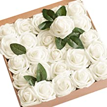 Ling's moment Artificial Flowers 25pcs Real Looking Ivory Fake Roses w/Stem for DIY Wedding Bouquets Centerpieces Bridal Shower Party Home Decorations