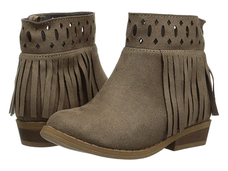 Baby Deer First Steps Fringe Ankle Boot with Cut Outs (Infant/Toddler) (Taupe) Girls Shoes
