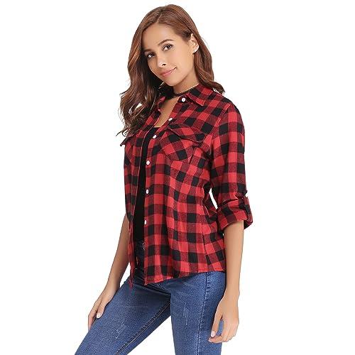 719b5be4c6191 Abollria Women's Roll up Long Sleeve Boyfriend Button Down Plaid Flannel  Shirt (S-XXL