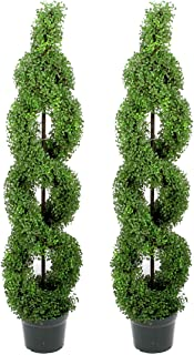 Admired By Nature Plastic Pot 5' Artificial Boxwood Leave Double Spiral Topiary Plant Tree, Twin Pack