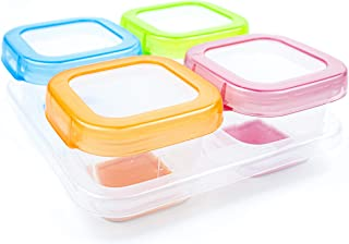 AAMUEE Healthy Baby Food Blocks Containers & Storage with Lids for Infants, Toddlers & Kids | Airtight, BPA Free Silicon, Leak Proof & Soft Base Design |4 Pcs & 4 oz | Ideal for Daycare, Snack & Puree