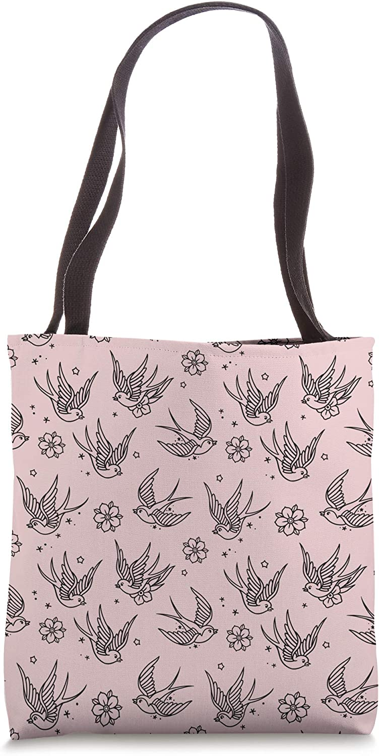 Sparrows and flowers American Traditional Tattoo Flash Print Tote Bag