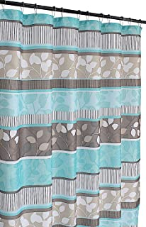 Aqua Blue Fabric Shower Curtain: Primitive Striped Floral Design, 70 by 72 Inches, Teal Aqua Brown Beige