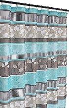Aqua Blue Fabric Shower Curtain: Primitive Striped Floral Design, 180cm by 180cm with Roller Ball Hooks, Teal Aqua Brown B...