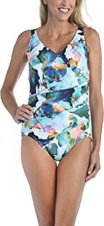 Maxine Of Hollywood Women's Shirred Front Surplice One Piece Swimsuit