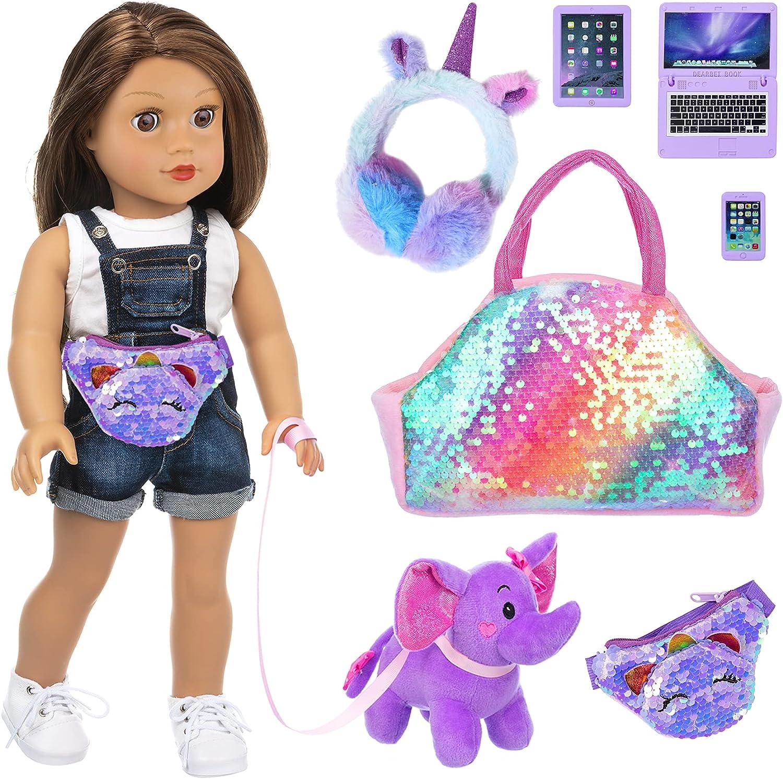 K.T. San Antonio Mall FANCY 7 Pcs American 18 Accessories Doll Outlet SALE Inch Stuff In Girl