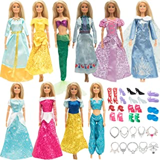 ONEST 30 Pieces Princess Clothes and Accessories for Dolls Include 10 Pieces Princess Dresses, 10 Pairs Shoes and 10 Piece...
