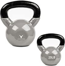 Victor Fitness 25 lb Solid Cast Iron Vinyl Coated Silver Kettlebell with Wide Easy-to-Grip Handle Ages