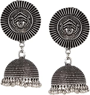 Efulgenz Indian Vintage Retro Ethnic Gypsy Oxidized Silver Tone Boho Jhumka Jhumki Dangle Earrings with Stud for Girls and Women Love Gift