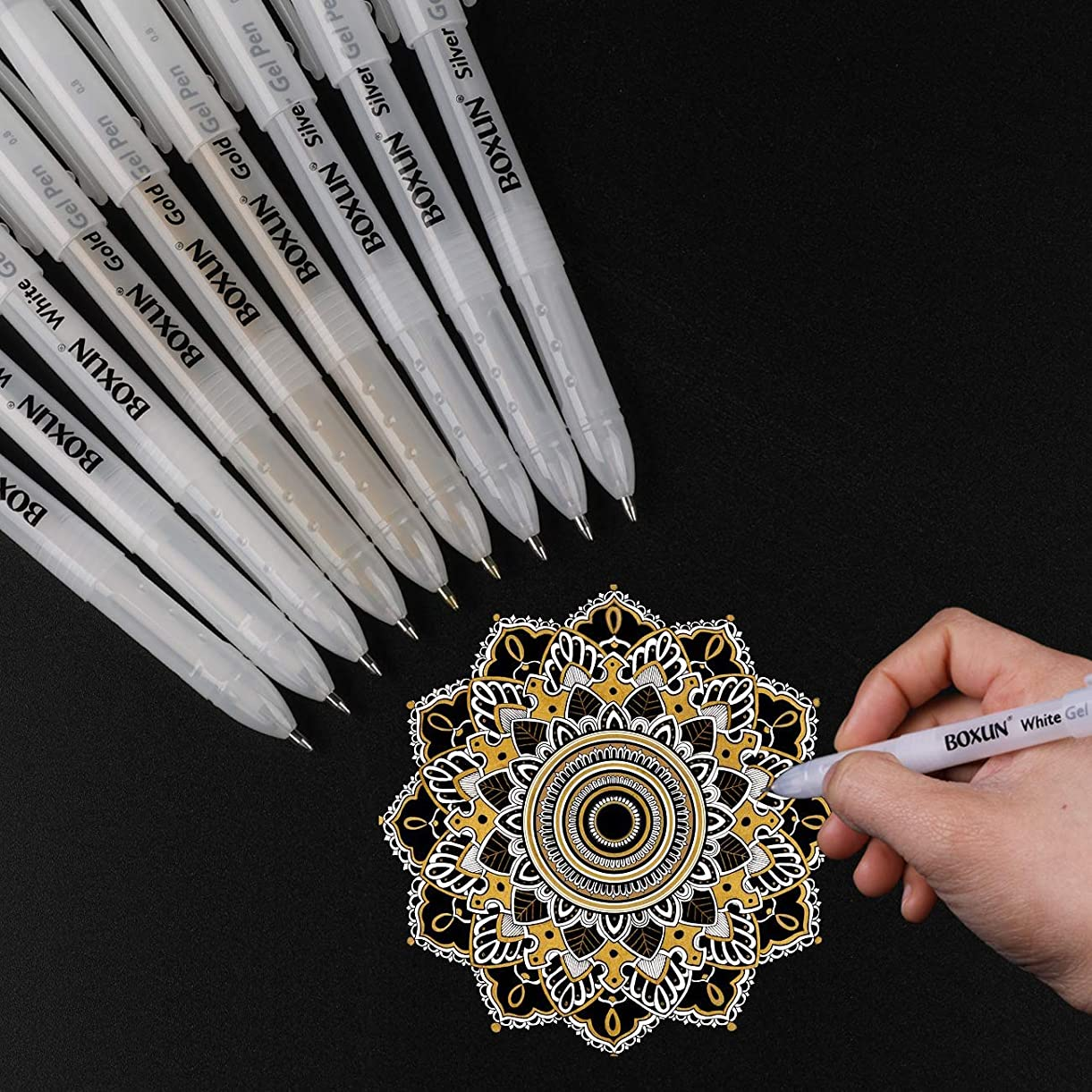 White, Gold and Silver Gel Pen Set for Artist - 3 Colors (9 Pack) Gel Ink Pens for Black Paper Drawing, Sketching, Manga, Illustration jtpcy6025