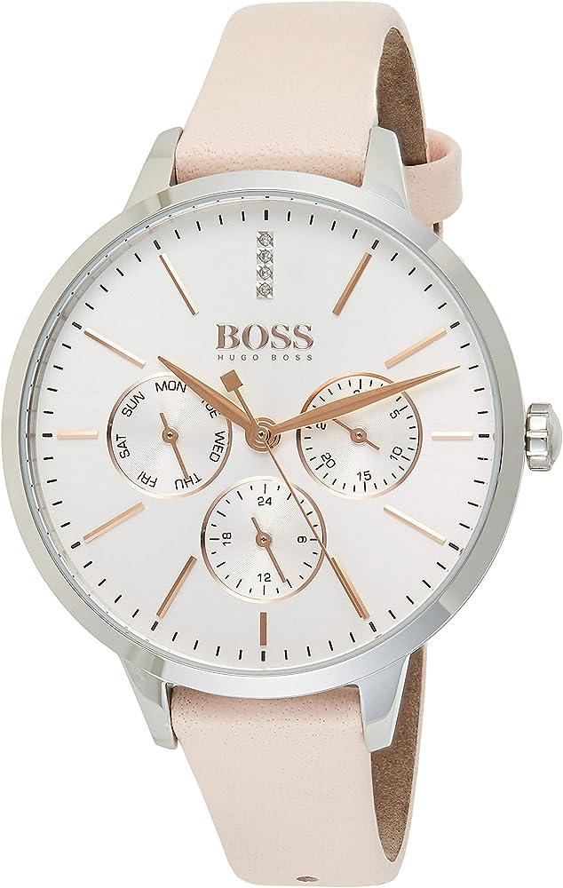 Hugo boss, orologio per donna, multi-quadrante,con cassa in acciaio inossidabile e cinturino in vera pelle 1502419