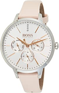 Hugo Boss Women's Silver White Dial Pink Leather Watch - 1502419