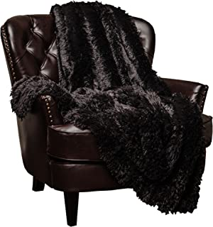 Chanasya Super Soft Shaggy Longfur Throw Blanket | Snuggly Fuzzy Faux Fur Lightweight Warm Elegant Cozy Plush Sherpa Fleece Microfiber Blanket | for Couch Bed Chair Photo Props -(60x70)- Black